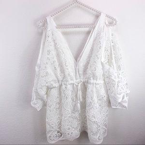 Boston Proper White Lace Mini Dress Cover Up